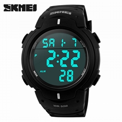 Outdoor dress digital watches 5ATM with Taiwan chip and imported EL lighting PU