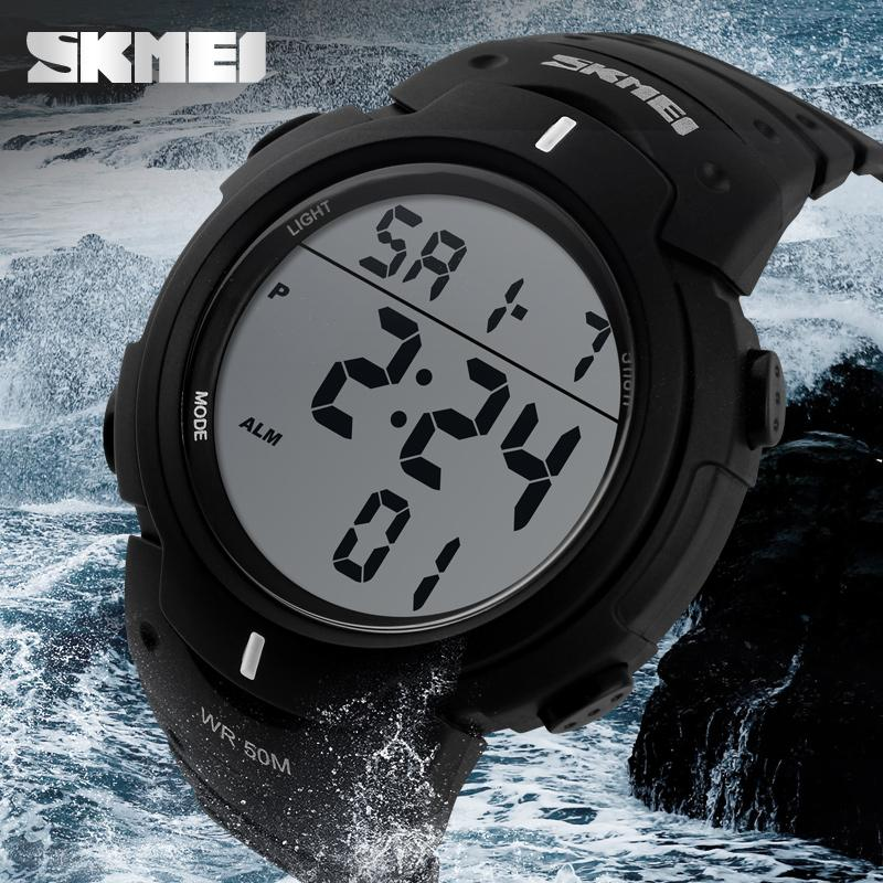 Outdoor dress digital watches 5ATM with Taiwan chip and imported EL lighting PU  3