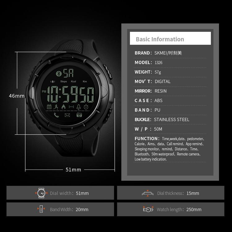 SKMEI Luxury Sport Digital Bluetooth Smart Watch 50m Waterproof unsex Wrist Watc 5