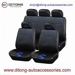 Black Color PVC PU Leather Full Set Car Seat Covers