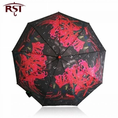 RST oil painting art woman umbrella folding brand quality 9Ribs windproof umbrel