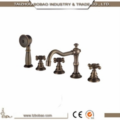 Bathroom Set 5PCS Deck Mounted Antique Bronze Hand Shower Head Basin Mixer Taps