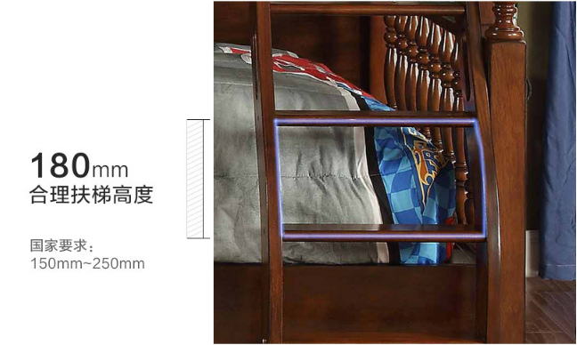 2018 new American double solid wood children's bed  3