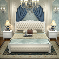 Modern  white solid wood  double bed