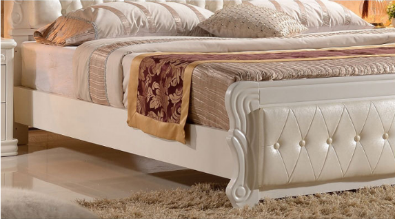 Modern  white solid wood  double bed 4