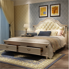 2018 new European wood double bed