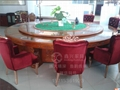 高档雕刻实木电动餐桌大圆桌