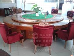 高檔雕刻實木電動餐桌大圓桌