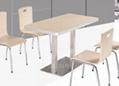 食堂不锈钢桌椅连体桌椅曲木桌椅