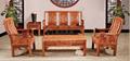 榆木桌椅功夫茶桌实木沙发6件套 1