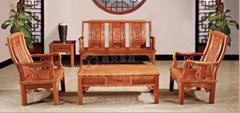 榆木桌椅功夫茶桌实木沙发6件套