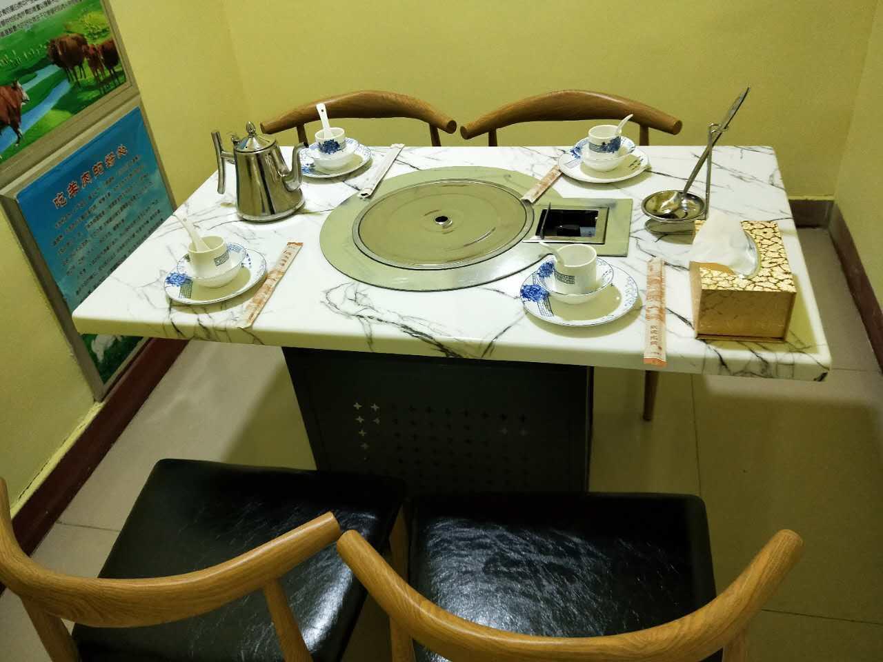 火锅桌椅高档理石火锅桌隐形电磁炉玻璃面无烟设备 2