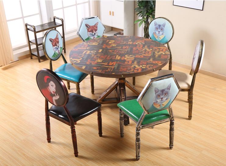 工业风沙发咖啡厅桌椅组合餐桌快餐桌椅定制 1