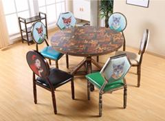 工業風沙發咖啡廳桌椅組合餐桌快餐桌椅定製