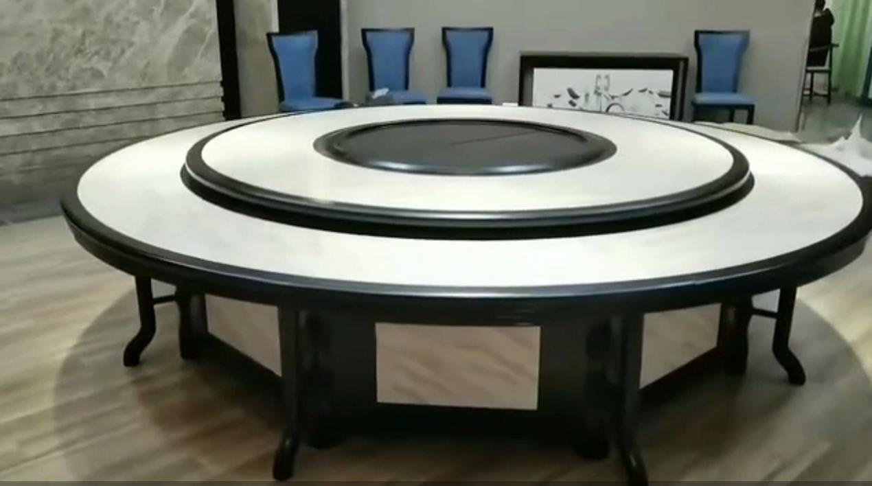酒店电动餐桌椅高档实木雕刻大圆桌 1