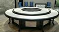 酒店电动餐桌椅高档实木雕刻大圆