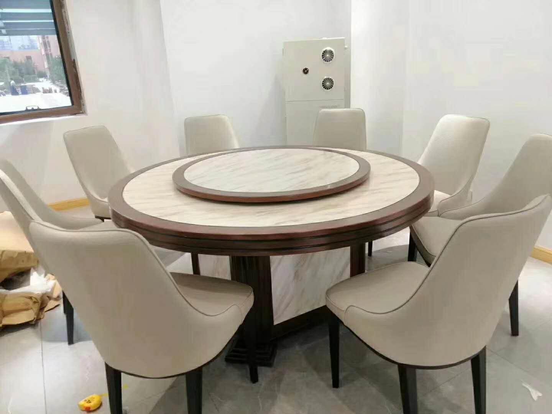酒店電動餐桌椅高檔實木雕刻大圓桌 3