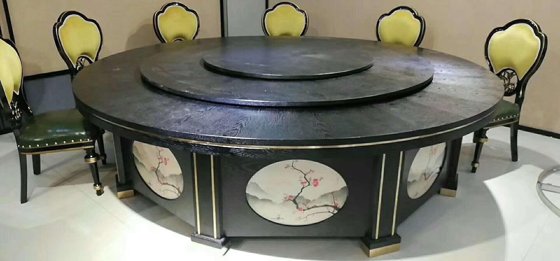 酒店电动餐桌椅高档实木雕刻大圆桌 5