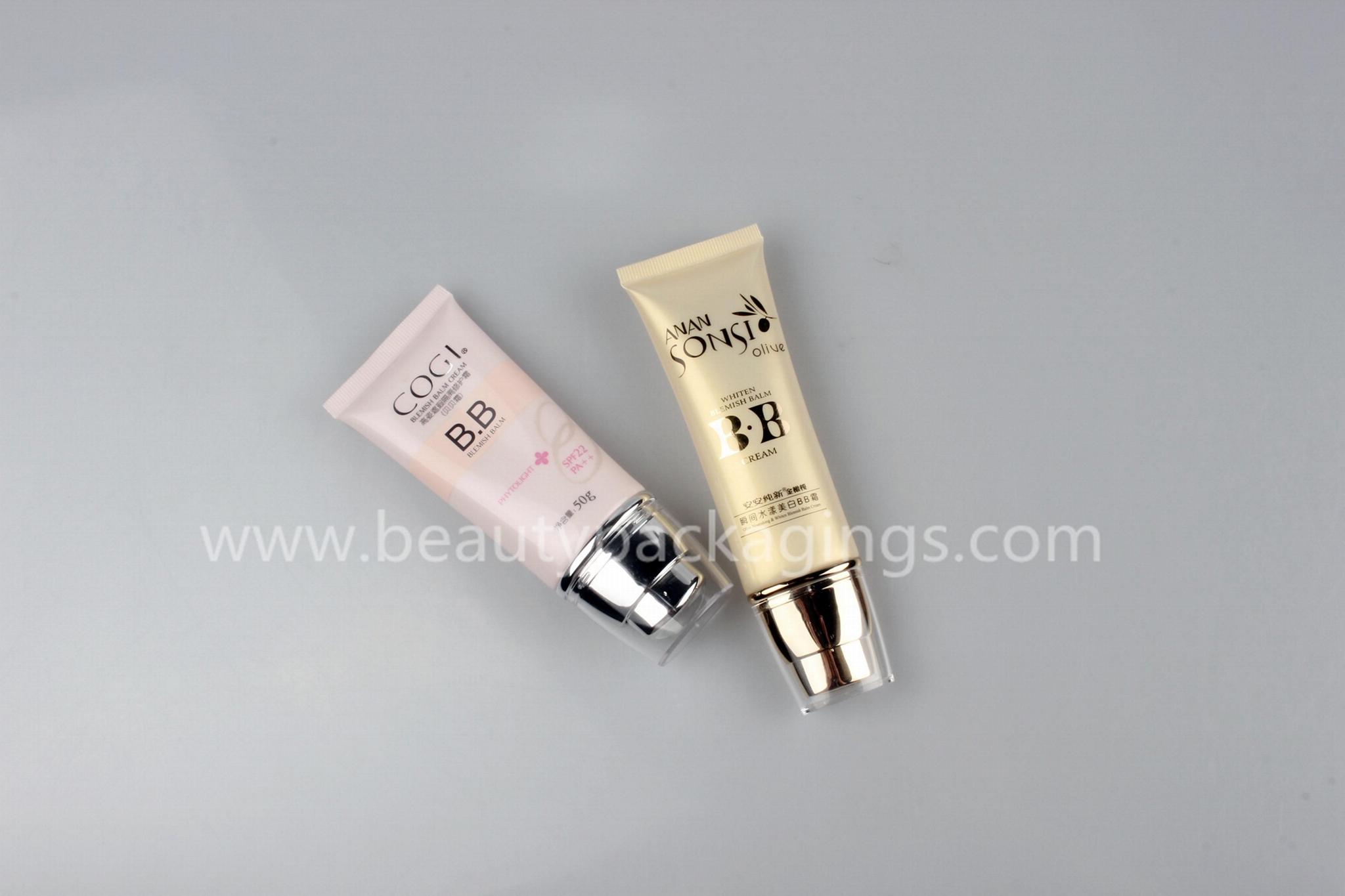 Custom Logo White BB Cream Cosmetic Tube With Black Screw Cap 2