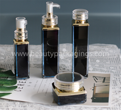 Gold Plating Acrylic Square Essence Lotion Bottle And Face Cream Jar Set
