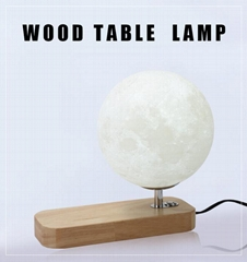 Hot sale 3W wireless charging moon lamp USB cable wooden table light for bedroom