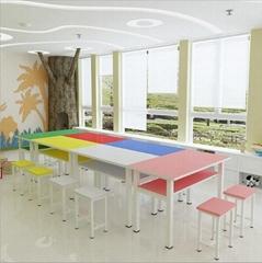 學校輔導班學生桌台雙人培訓桌椅組合苗圃藝朮繪畫手冊桌