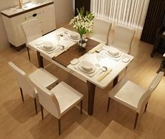 现代折叠餐桌和椅子组合一桌六椅