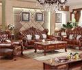 European leather sofa solid carved living room luxury villa luxury package Europ