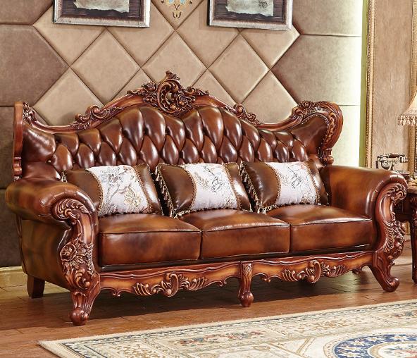 欧式皮沙发固体雕花客厅豪华别墅豪华包欧式真皮沙发 2