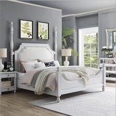 美式实木双人床和床头柜