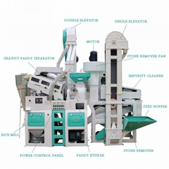 1 Ton Per Hour Capacity Combined whole set rice mill machine