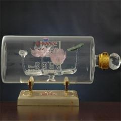 内置荷花形各种瓶型高硼硅玻璃工艺酒瓶