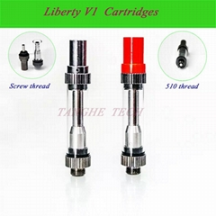 Liberty V1 Red Cap CO2 510 Bud Atomizer Cartridge Top Ailfow for Thick Oil