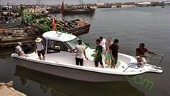 8客位8.6米日式双机玻璃钢游艇钓鱼船带厕所卧室可办理船检证