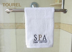 Rectangle 100% Cotton Hotel Towel Set Bulk Custom Logo White 5 Star Hotel Face T