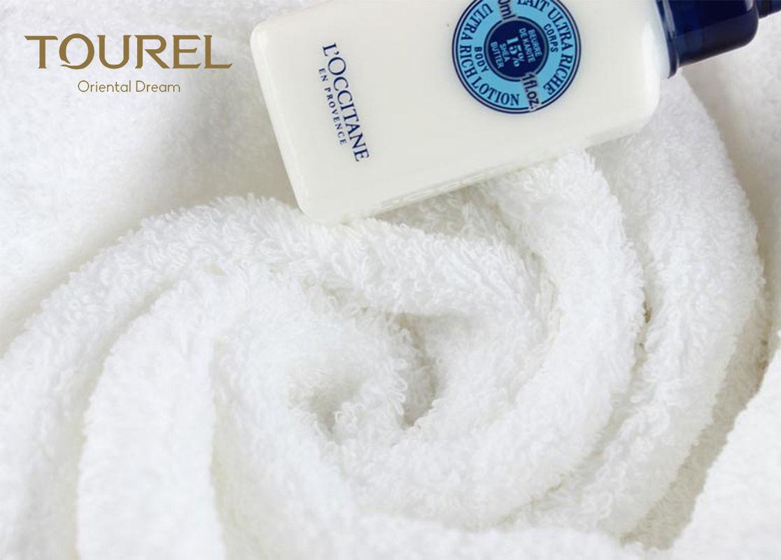 Rectangle 100% Cotton Hotel Towel Set Bulk Custom Logo White 5 Star Hotel Face T 2
