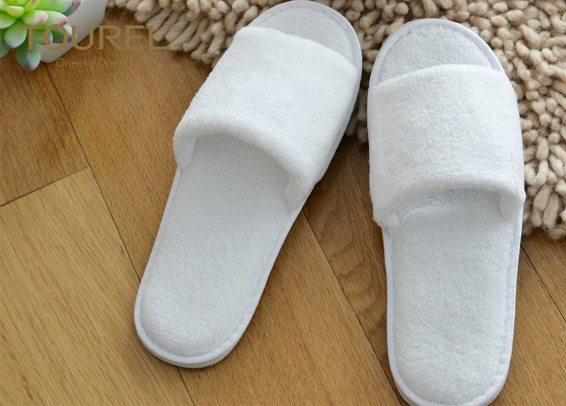 Open Toe Coral Fleece Disposable Hotel Slippers White With EVA Sole 1
