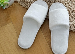Open Toe Coral Fleece Disposable Hotel Slippers White With EVA Sole