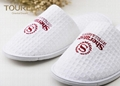 White Waffle Disposable Hotel Slippers With Red Embroidery Logo 100% Cotton 2