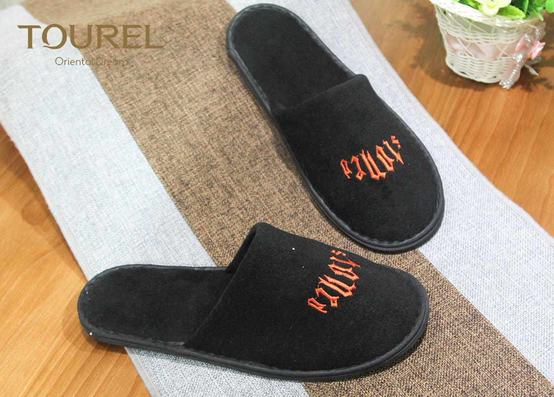 Polyester Velour Hotel Disposable Slippers For Guests , Cut Ve  et Luxury 1