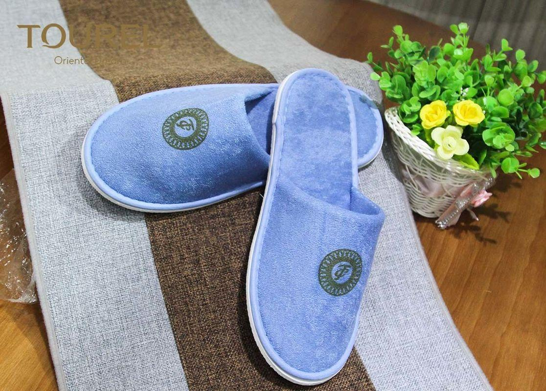 Blue Terry Bedroom Slippers with Normal Printing Customized Logo 1