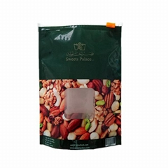 Customized printed nuts food packaging bag with clear window and zipper
