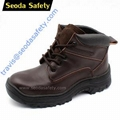 Crazy horse leather safety shoes