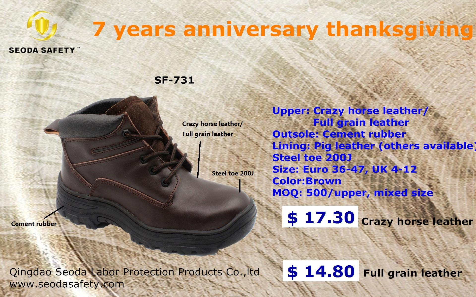 Crazy horse leather safety shoes 3