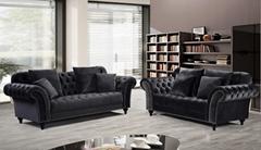 欧式布艺绒布沙发