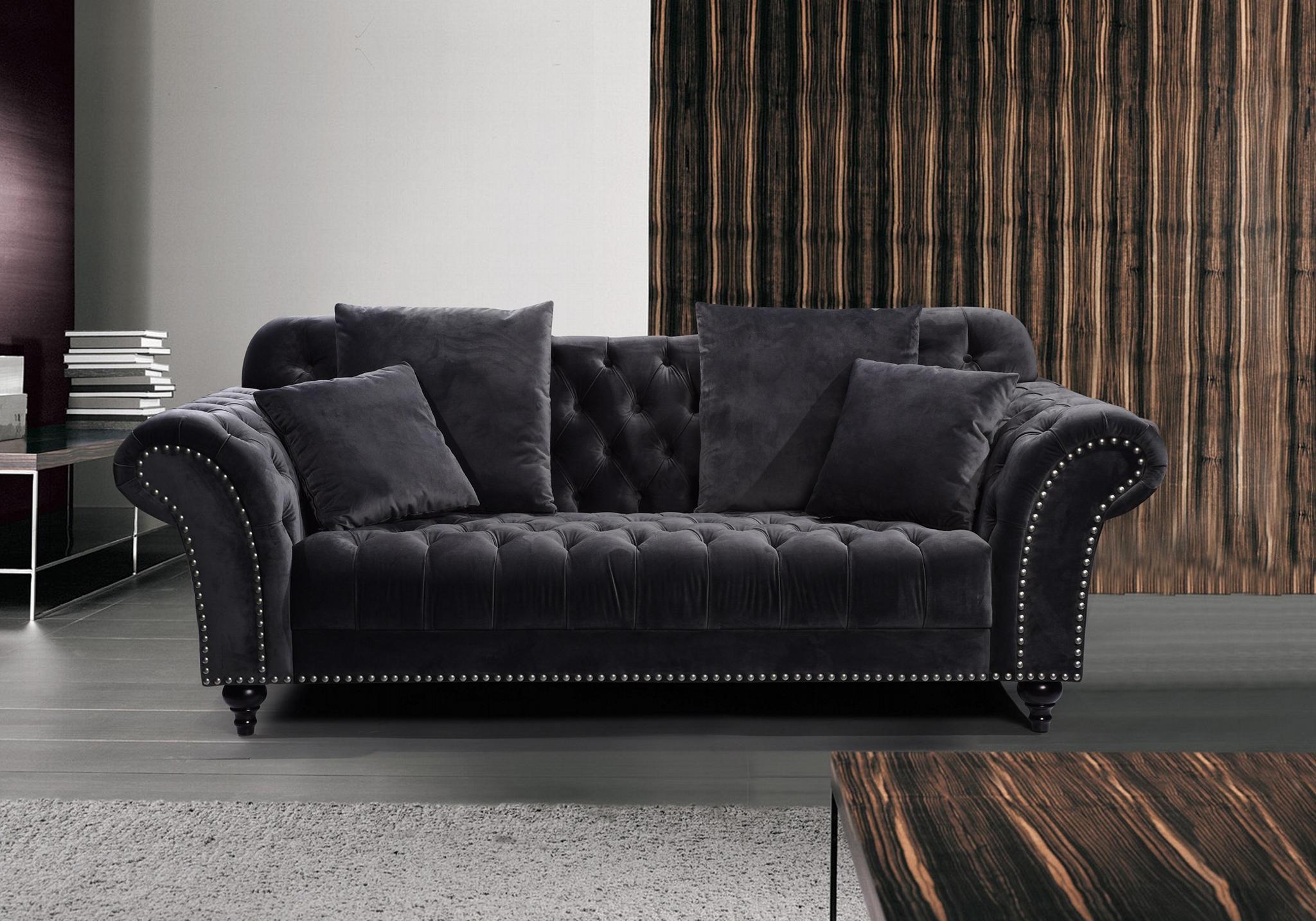 欧式布艺绒布沙发 2