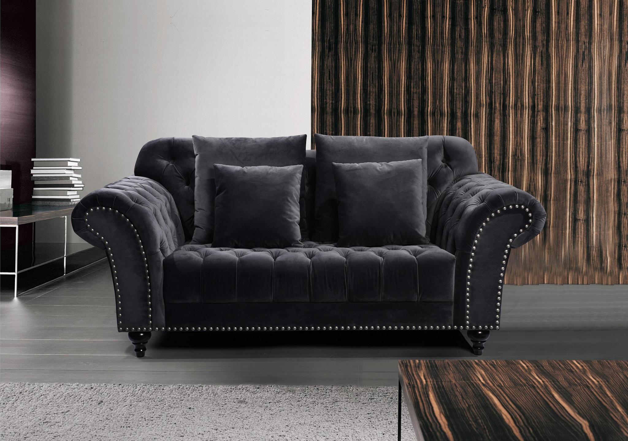 欧式布艺绒布沙发 3