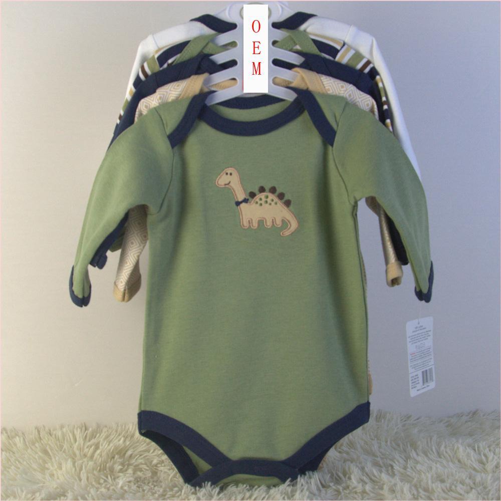 newborn baby 5 pack long sleeve bodysuits China baby garments OEM factory  1