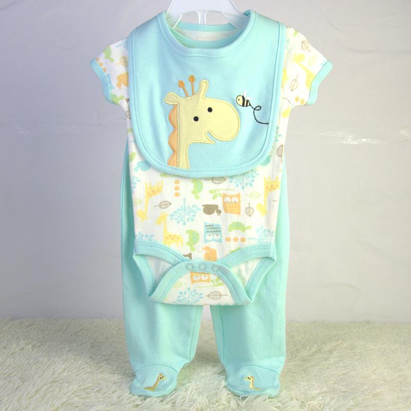 baby bodysuit bib and pants 3 piece set China OEM baby garment factory 1