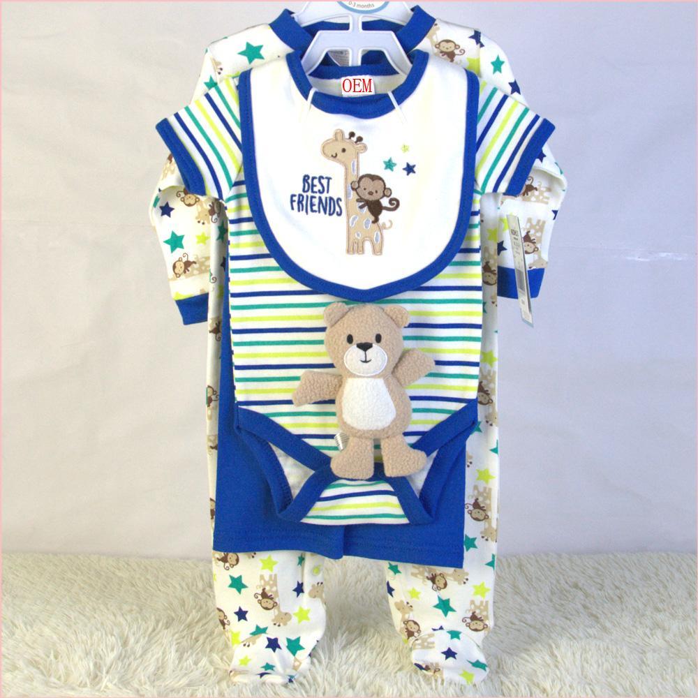 infant garment set bodysuit bib doll pants and sleeper 5 piece set China OEM  1